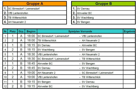 Spielplan Alte Herren-Turnier (Freitag, 8. Juni)
